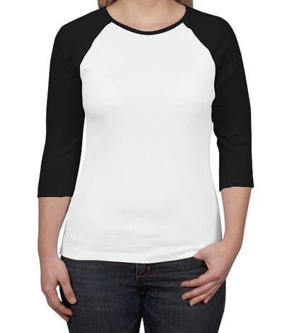Bella + Canvas Women's Slim Fit Baseball Raglan - White / Black