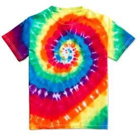 Dyenomite Youth 100% Cotton Rainbow Tie-Dye T-shirt