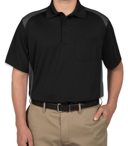 CornerStone Snag-Proof Colorblock Pocket Polo - Black / Charcoal