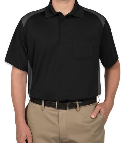 CornerStone Snag-Proof Colorblock Pocket Polo - Black / Charcoal