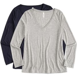 Bella + Canvas Women's Flowy Long Sleeve V-Neck T-shirt