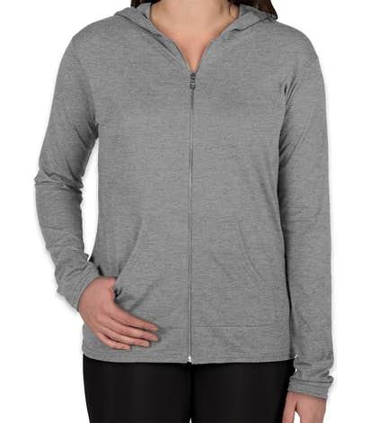 Anvil Women's Tri-Blend Full Zip T-shirt Hoodie - Heather Grey