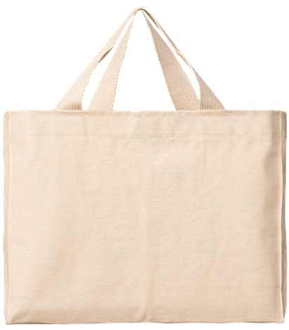 Bayside USA-Made Medium Gusseted 100% Cotton Canvas Tote - Natural