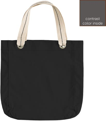 Garment Washed Cotton Canvas Contrast Tote - Black