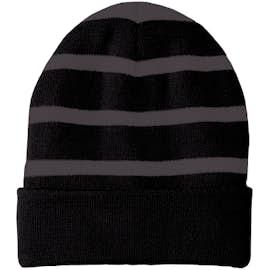 Sport-Tek Fleece Lined Striped Cuff Beanie - Color: Black / Iron Grey