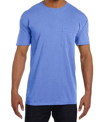 e0e246d6 Custom Comfort Colors 100% Cotton Pocket T-shirt - Design Short ...