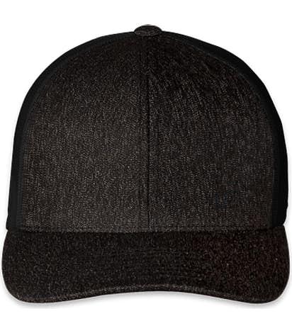 Pacific Headwear Heather Trucker Hat - Black Heather / Black