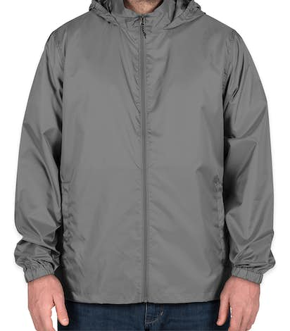 Elevate Darien Packable Lightweight Hooded Full-Zip Windbreaker - Steel Grey