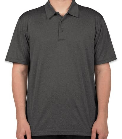 Sport-Tek Heather Performance Polo - Screen Printed - Graphite Heather