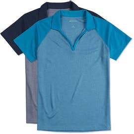 Sport-Tek Women's Raglan Heather Color Block Performance Polo