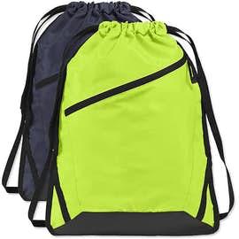 Port Authority Adjustable Strap Contrast Zipper Drawstring Bag