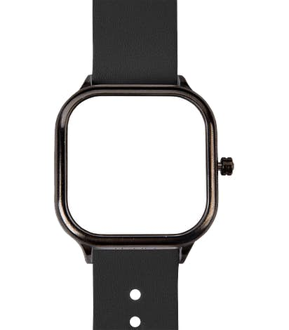 Gunmetal Watch with Leather Band - White Face / Black Band