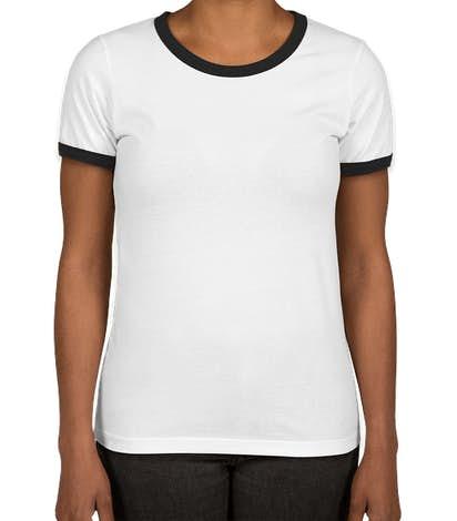 Next Level Women's Ringer T-shirt - White / Black