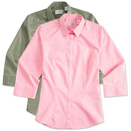 Van Heusen Women's 3/4 Sleeve Baby Twill Dress Shirt