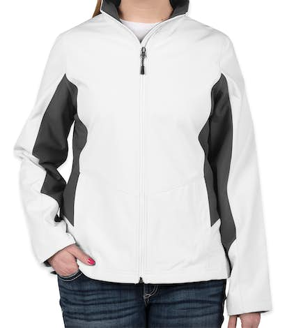 Port Authority Women's Colorblock Soft Shell Jacket - Marshmallow / Battleship Grey