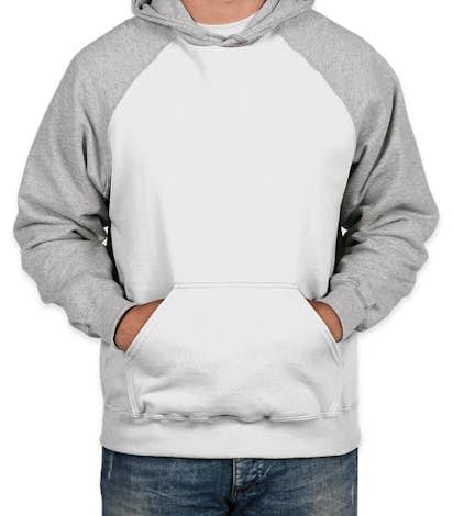 Holloway Raglan 50/50 Pullover Hoodie - White / Athletic Heather
