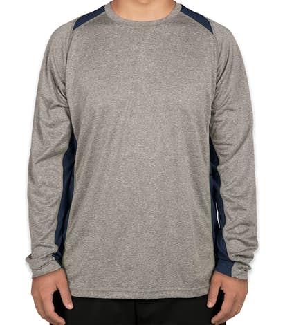 Sport-Tek Long Sleeve Heather Colorblock Performance Shirt -  Vintage Heather / True Navy
