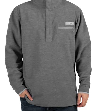 Columbia Harborside Quarter Zip Snap Fleece Pullover - Cool Grey Heather