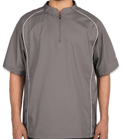 Rawlings Quarter Zip Baseball Short Sleeve Pullover - Steel