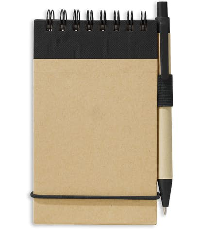 Recycled Mini Flip Spiral Jotter with Pen - Natural w/ Black Trim