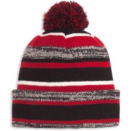 New Era Sideline Fleece Lined Pom Pom Beanie - Color: Black / Scarlet
