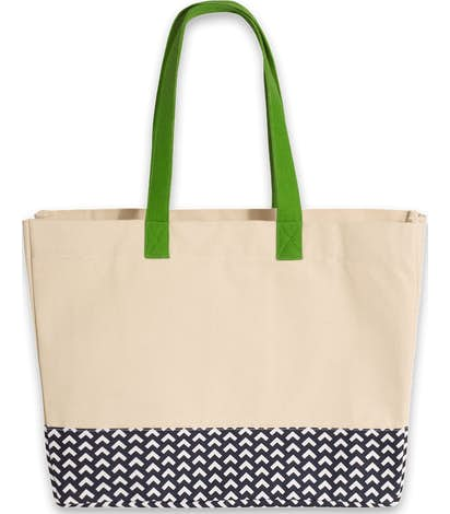 Large Gusseted Patterned Bottom Tote - Natural / Navy