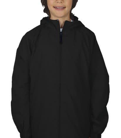 Sport-Tek Youth Full Zip Hooded Jacket - Black
