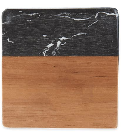 Laser Engraved Black Marble and Wood Coaster Set - Black