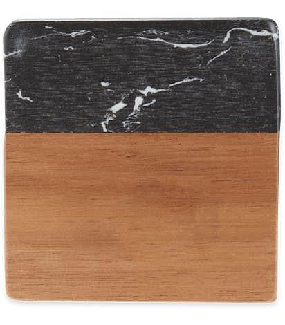 Laser Engraved Black Marble and Wood Coaster Set - Black