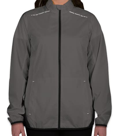 Port Authority Women's Reflective Running Full Zip Jacket - Grey Steel / Deep Black