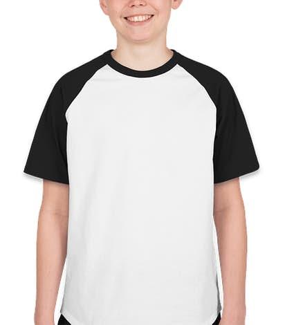 Sport-Tek Youth Short Sleeve Baseball Raglan - White / Black