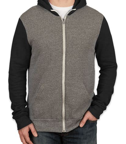 Alternative Apparel Tri-Blend Raglan Zip Hoodie - Eco Grey / Eco True Black