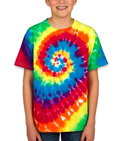 Dyenomite Youth 100% Cotton Rainbow Tie-Dye T-shirt - Michelangelo