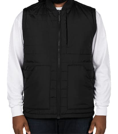 Harriton Puffer Reversible Vest - Black / Dark Charcoal