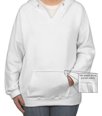 J. America Women's V-Neck Pullover Hoodie - White