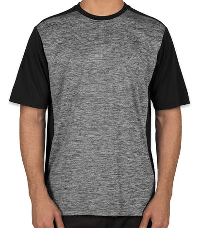 Sport-Tek Electric Heather Colorblock Performance Shirt - Black Electric / Black