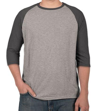 Anvil Tri-Blend Raglan T-shirt - Heather Grey / Heather Dark Grey
