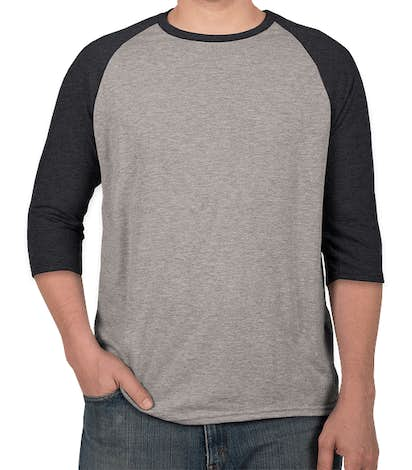 Anvil Tri-Blend Baseball Raglan - Heather Grey / Heather Navy