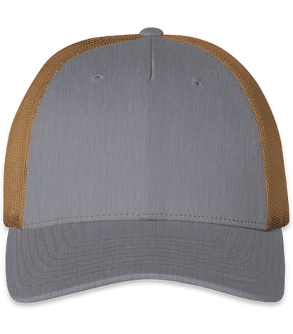 Richardson Five-Panel Snapback Trucker Hat - Heather Grey / Amber Gold