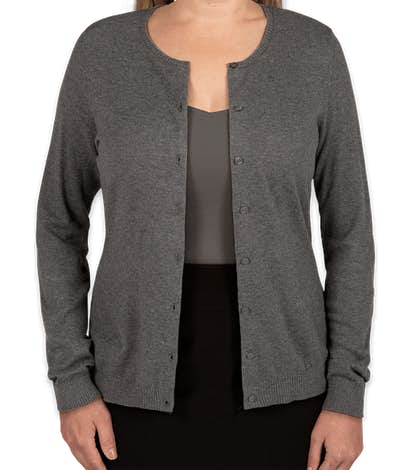 Port Authority Women's Full Button Cardigan Sweater  - Charcoal Heather
