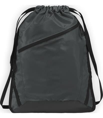 Adjustable Strap Contrast Zipper Drawstring Bag - Graphite Grey / Black