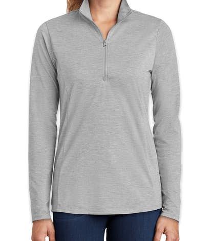 Sport-Tek Women's Tri-Blend Quarter Zip Performance Shirt - Light Grey Heather