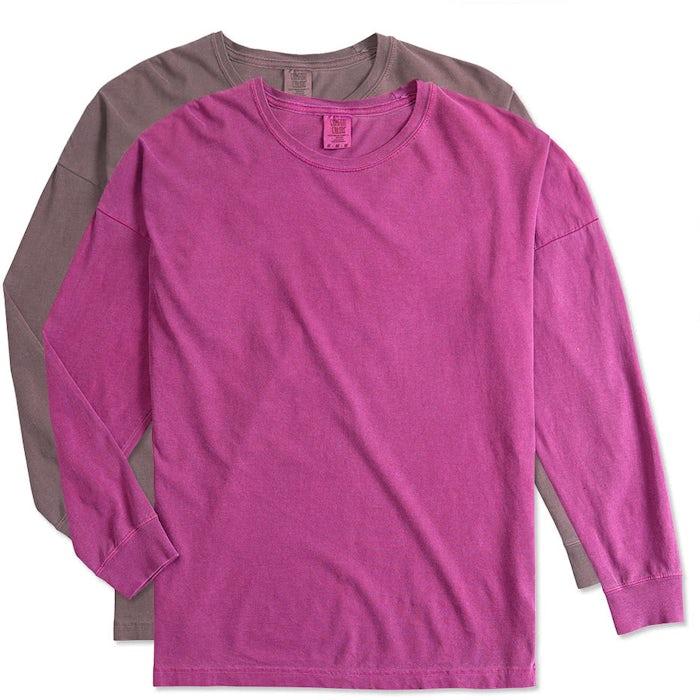 cda5b76f Custom Comfort Colors Women's Drop Shoulder Long Sleeve T-Shirt ...