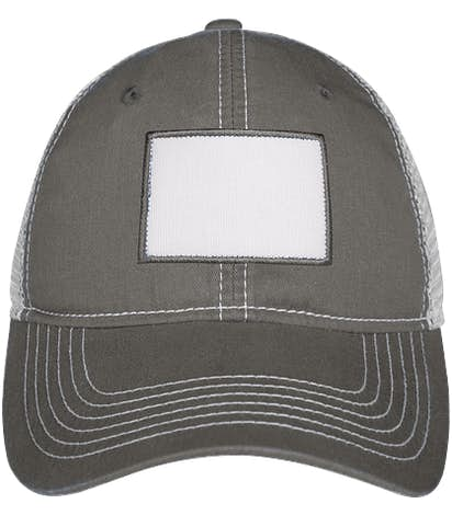 Rectangle Printed Patch Hat - Trucker - Charcoal / White