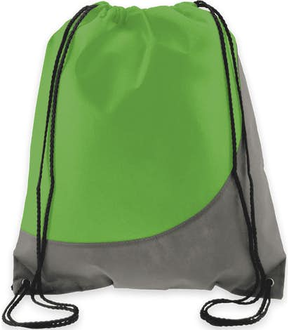 Promotional Non Woven Colorblock Drawstring Bag Lime