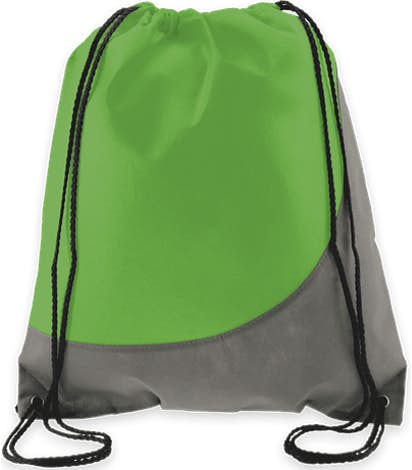 Promotional Non-Woven Colorblock Drawstring Bag - Lime