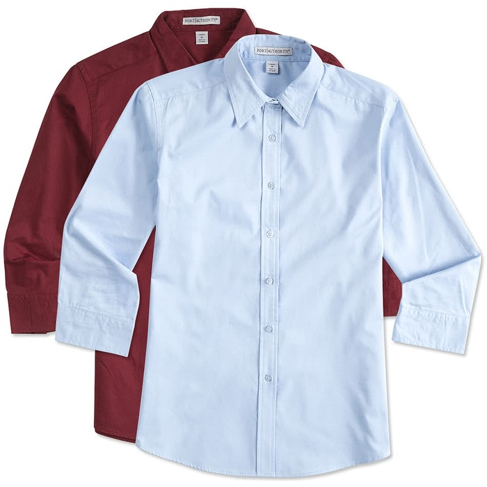 054acedc5 Custom Port Authority Women's 3/4 Sleeve Easy Care Twill Shirt ...