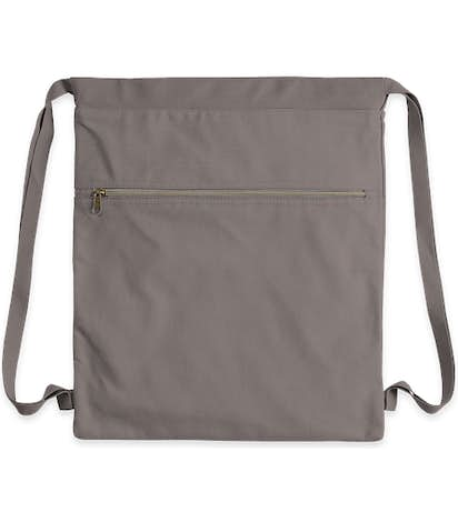 Midweight Pigment Dyed Canvas Drawstring Bag - Grey