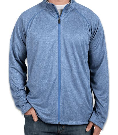 Devon & Jones Heather Performance Full Zip - French Blue Heather