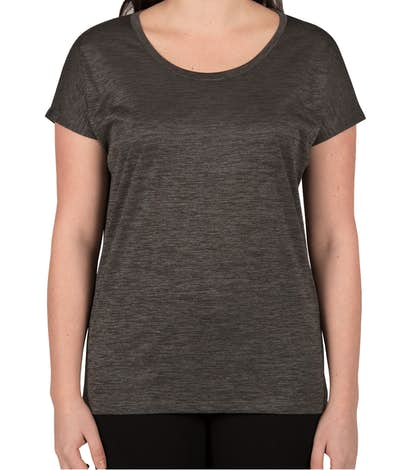 Sport-Tek Women's Electric Heather Performance Shirt - Grey-Black Electric